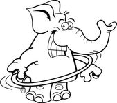 Black and white illustration of an elephant using a hula hoop