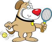 Cartoon dog playing tennis
