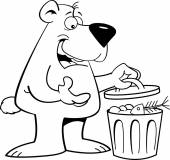 Cartoon bear with a garbage can