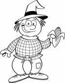 Cartoon scarecrow holding an ear of corn