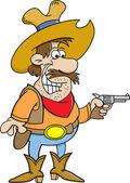 Kreslený kovboj držení pistole
