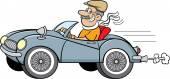Cartoon man driving a sports car