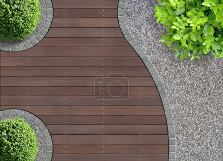 Photo for Aesthetic garden design detail seen from above - Royalty Free Image