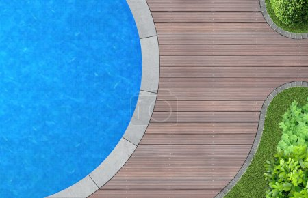 Photo for Modern landscape architecture with swimming pool from above - Royalty Free Image