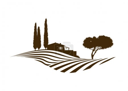 Illustration for Rural mediterranean vector landscape with fields, house and cypresses - Royalty Free Image