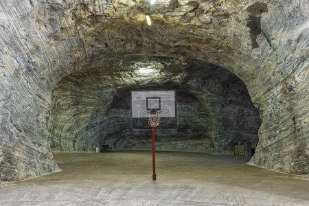 Basketball inside salt mine