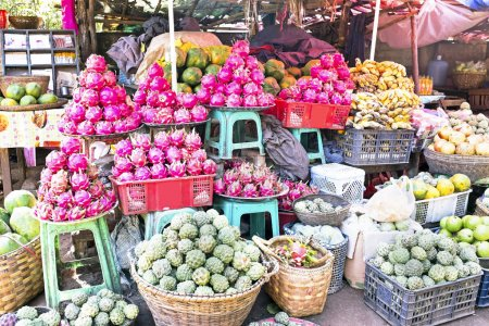 Photo for Market stall with tropical fruits in Myanmar - Royalty Free Image