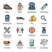 Travel Icons Collection 3 Basic accessories for trekking camping and outdoor traveler in line icons style