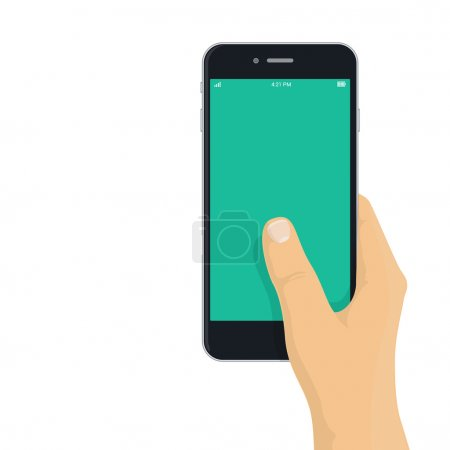 Illustration for Hand holding phone - flat design illustration for app, mobile web mock-up - Royalty Free Image