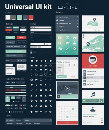 Illustration for Universal UI Kit for designing responsive websites, mobile apps & user interface. Dark blue background. - Royalty Free Image