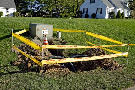 Yellow Caution Tape around Electrical Wires Installed Underground