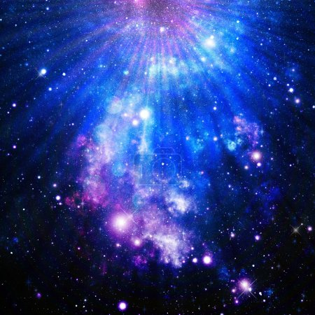 Photo pour Bleus et roses profonds dans cette illustration graphique abstraite d'univers. - image libre de droit