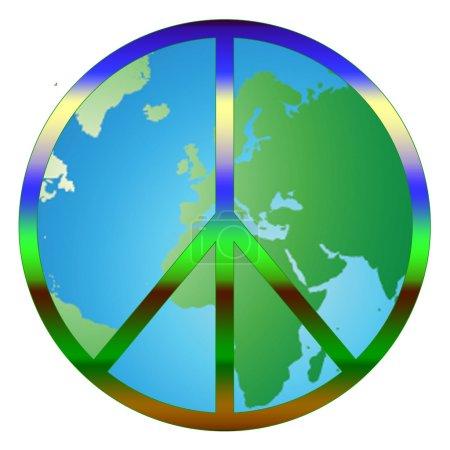 Photo pour Illustration du monde avec signe de paix reposant dessus symbolisant la paix et l'amour dans le monde . - image libre de droit