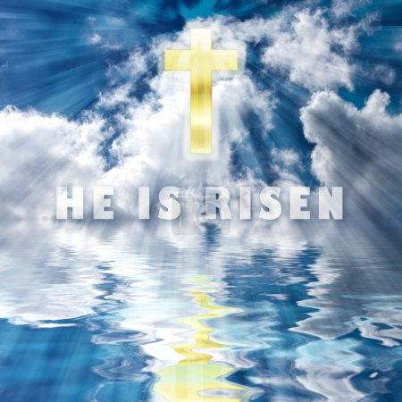 Easter Illustration - Golden Cross in Skies and Reflection in water - HE IS RISEN