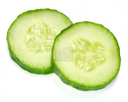 Photo for Fresh cucumber slice isolated on white backgroun - Royalty Free Image