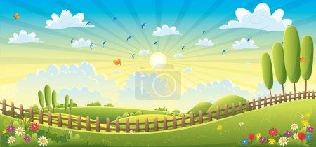 Illustration for Landscape Scene Vector Illustration eps10 - Royalty Free Image