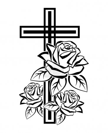 Photo pour Illustration en noir et blanc d'un contour crucifix avec des roses - image libre de droit