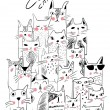 Set different animation cats, vector illustration