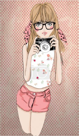 Fashion girl with camera