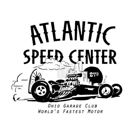 Vintage emblem with race car