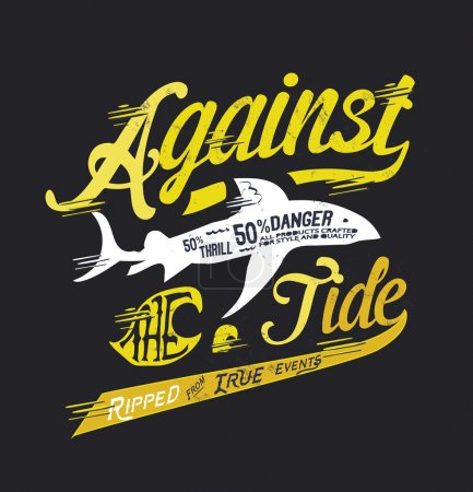 Illustration for Danger shark against tide, vector illustration - Royalty Free Image