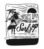 vintage emblem with surfing