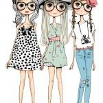 Vector illustration of beautiful fashion girls set, white background