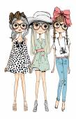 Vector illustration of beautiful fashion girls set white background