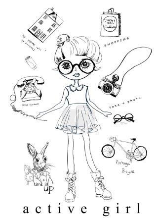 Illustration for Vector illustration of beautiful fashion girl with eyeglasses - Royalty Free Image