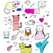 Cute vector illustration cats collection, white ba...