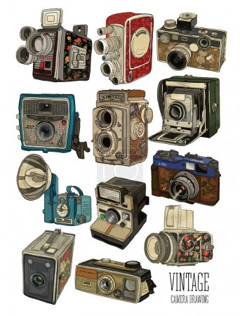 Illustration for Vector illustration of old vintage cameras set, white background - Royalty Free Image