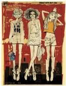 Vector illustration of beautiful fashion girls on city background