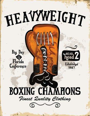 vintage emblem with boxing glove