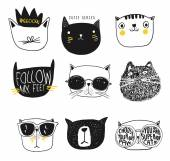 Set different animation cats vector illustration
