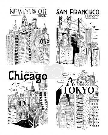 Photo pour Illustration vectorielle, design ensemble emblèmes vintage avec des villes - image libre de droit