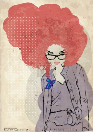 red hair girl wearing eyeglasses