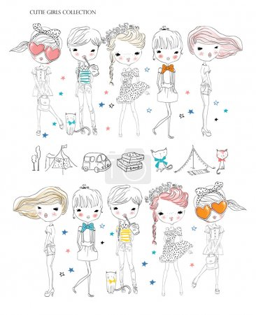 Illustration pour Illustration vectorielle de belle mode filles ensemble - image libre de droit