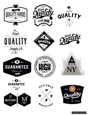 Illustration for Set vintage emblems different forms for quality, vector illustration - Royalty Free Image