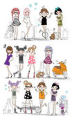 Vector illustration of beautiful fashion girls set on city street