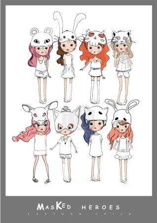 kids in masks different animals