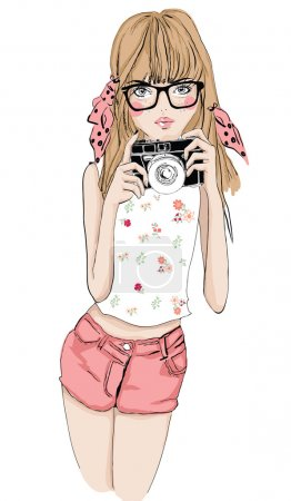 Girl with photo camera and eyeglasses