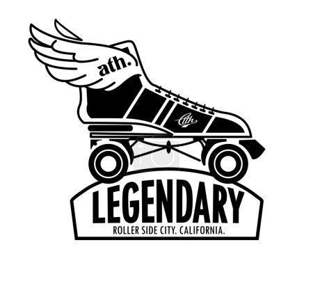 emblème roller skate avec des ailes