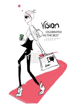 Illustration pour Illustration vectorielle de belle fille de la mode avec tasse de café et sacs à provisions - image libre de droit