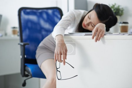 Female entrepreneur fell asleep