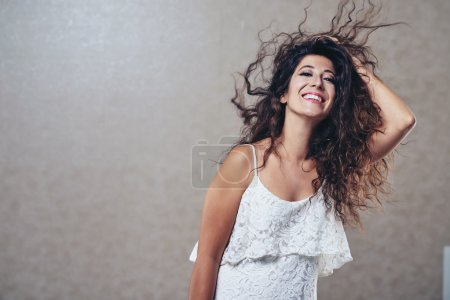 Photo for Portrait of smiling attractive woman enjoying the moment - Royalty Free Image