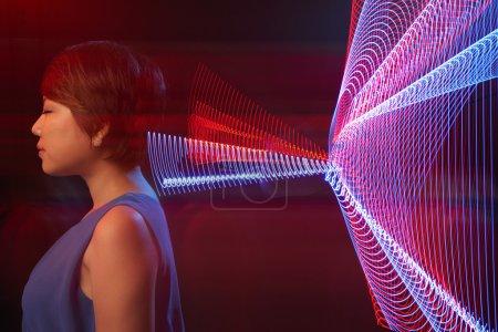 woman perceiving digital information