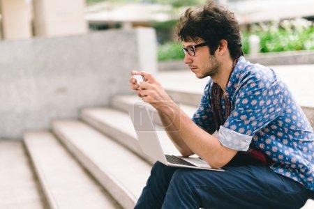 Student  using smartphone