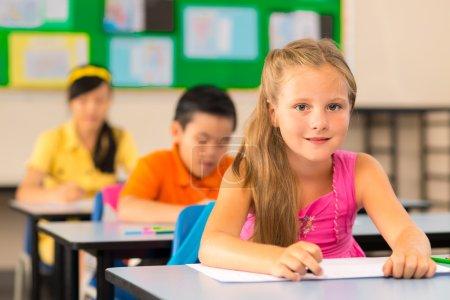 Smiling schoolgirl