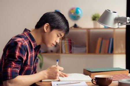 Photo pour Adolescent vietnamien à faire leurs devoirs, vue latérale - image libre de droit