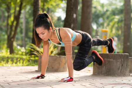 Woman doing plank exercise